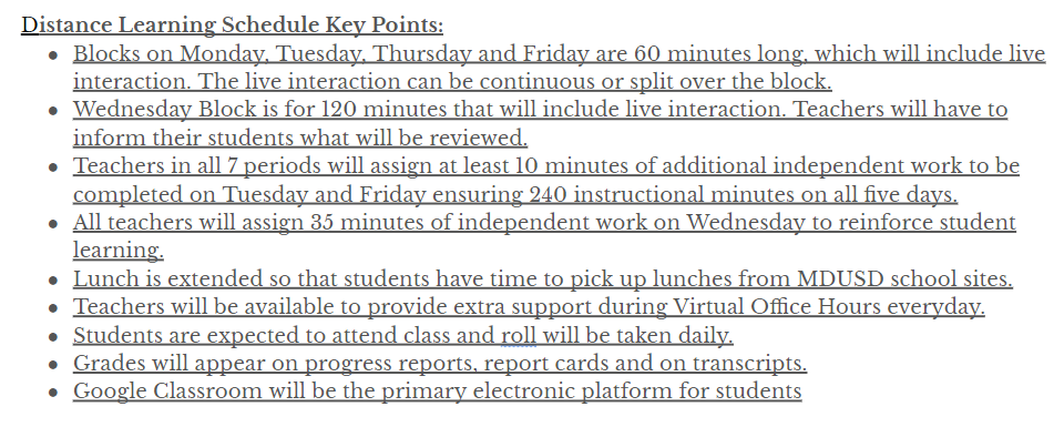 Distance Learning Key Points