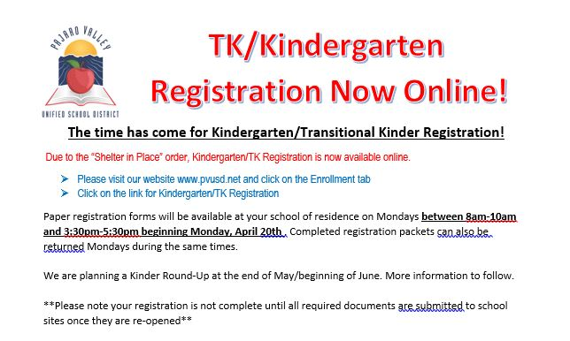 TK/Kindergarten Registration Now Online