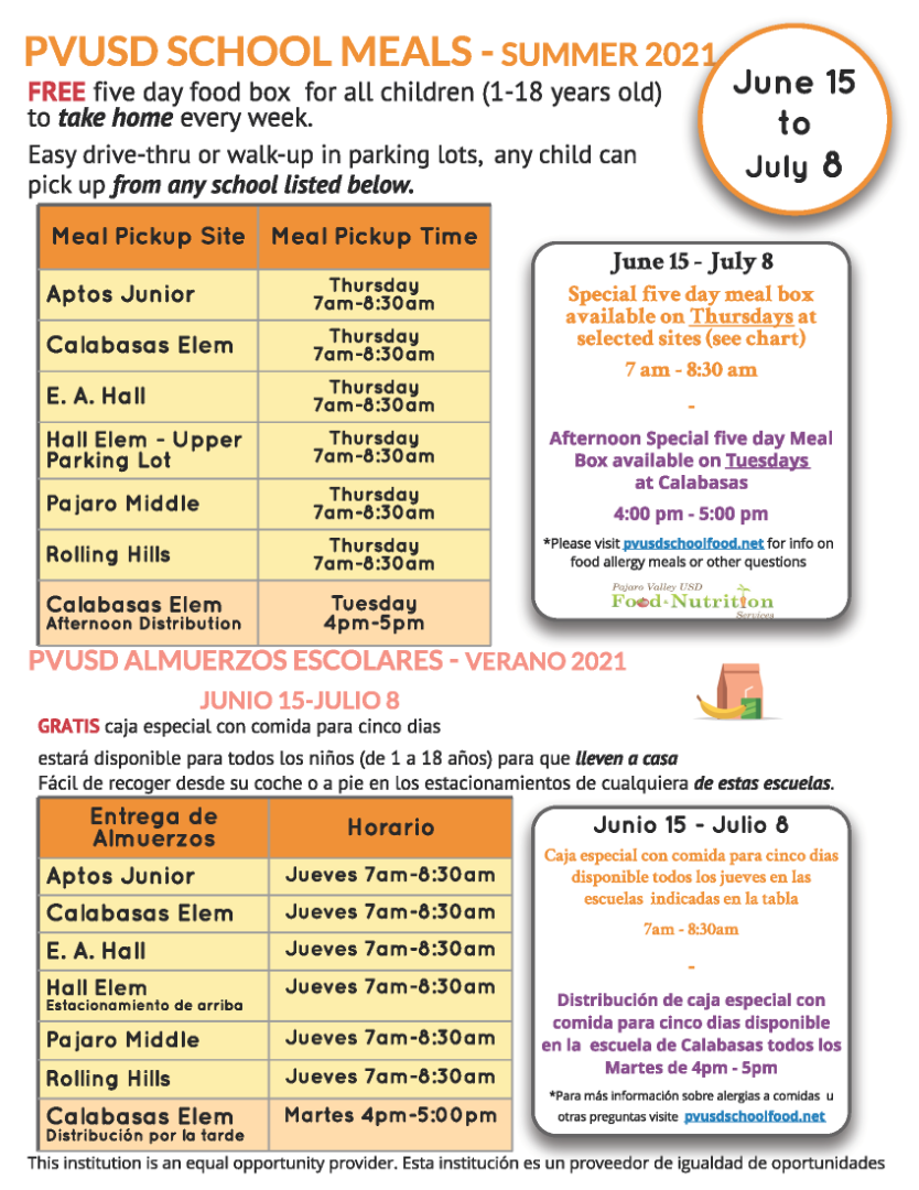PVUSD Meal Distribution flyer
