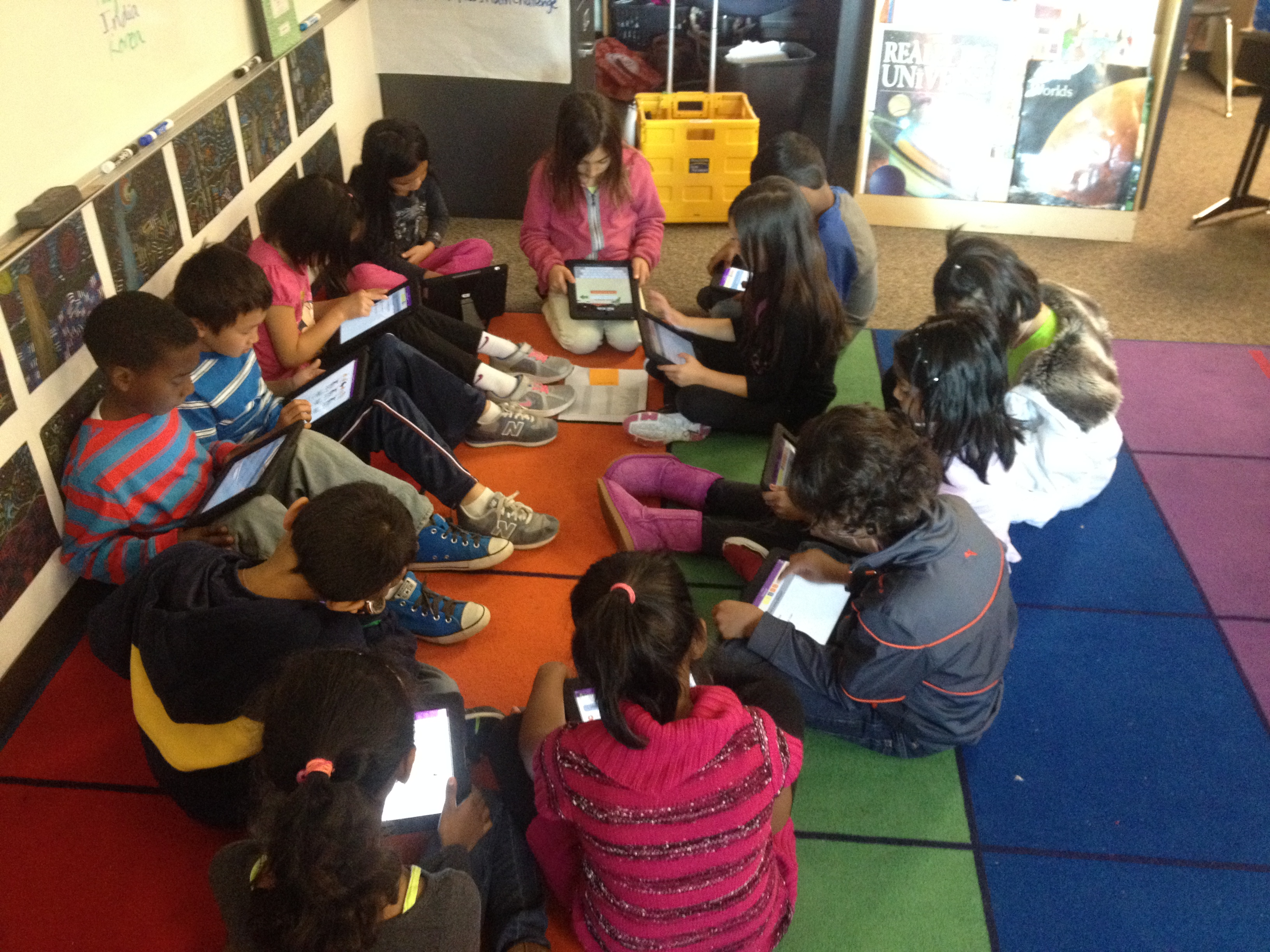 Students using Ipads to do shared reading during our daily Reader's Workshop time
