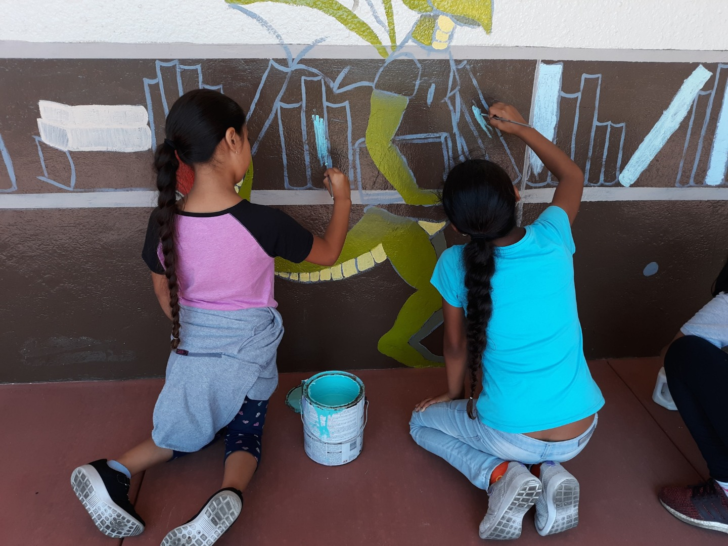 Students Painting the Library Mural