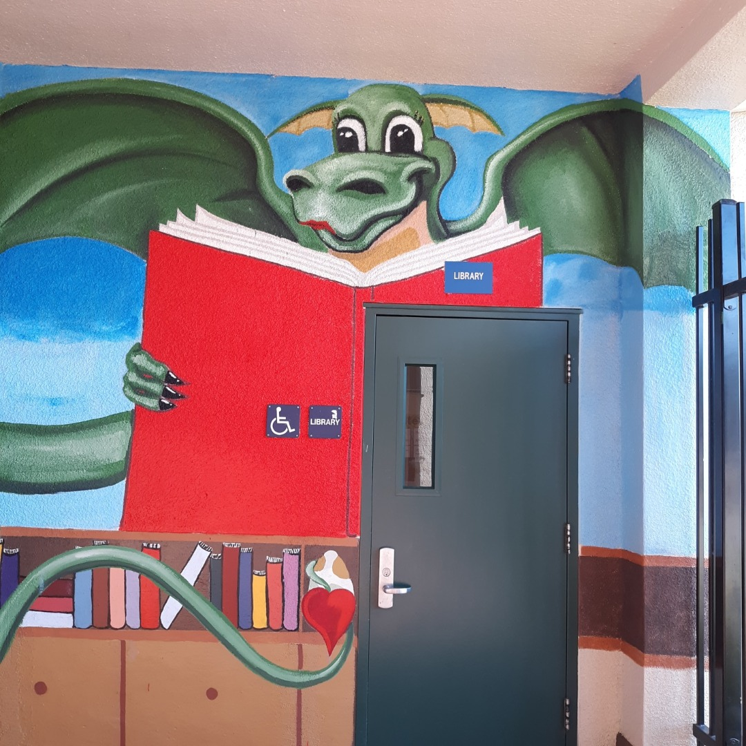 Library Mural (Dragon Reading)