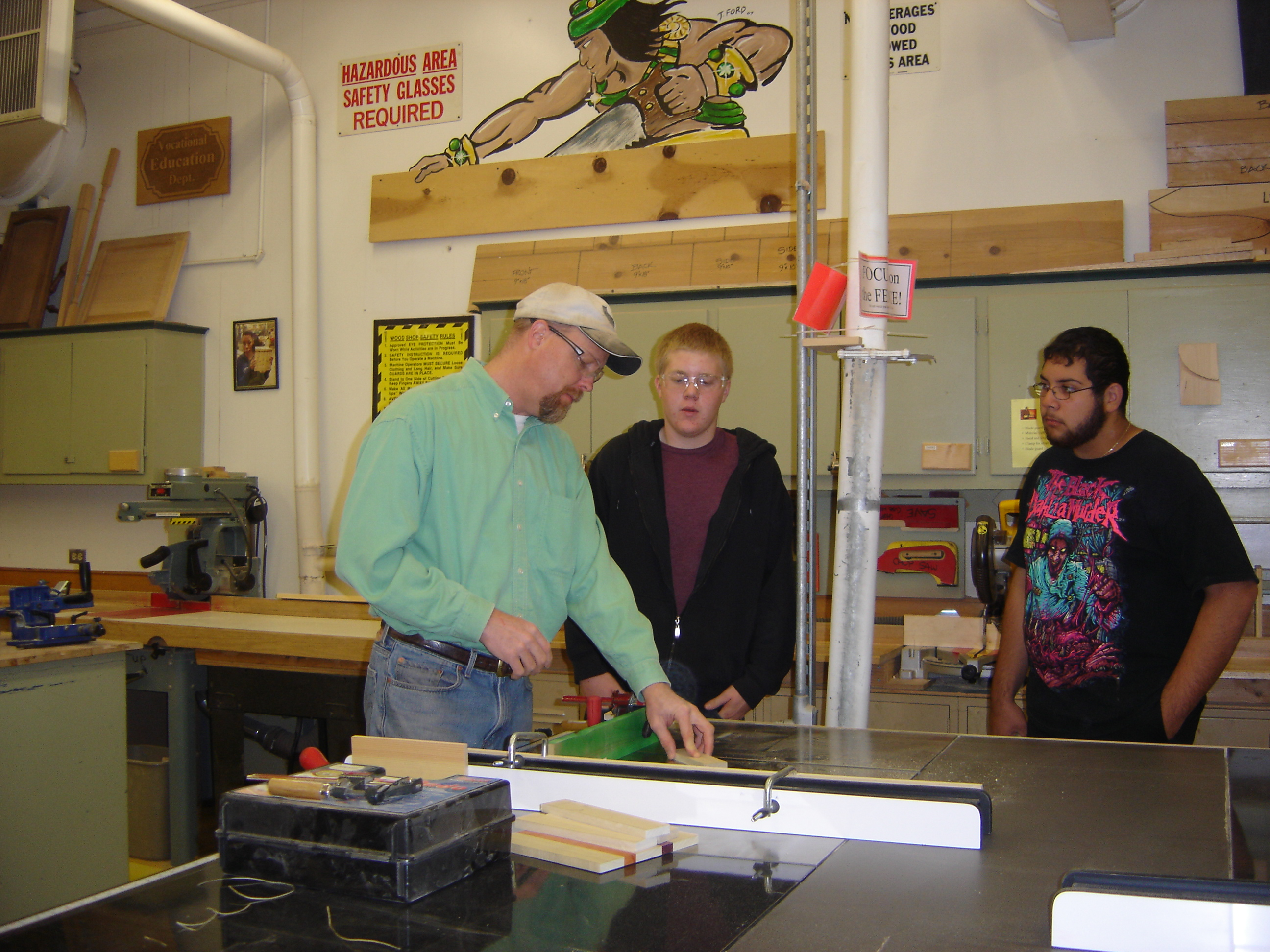 Mr. S advises on the table saw