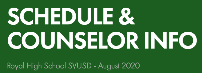 Schedule and Counseling Link Aug 2020
