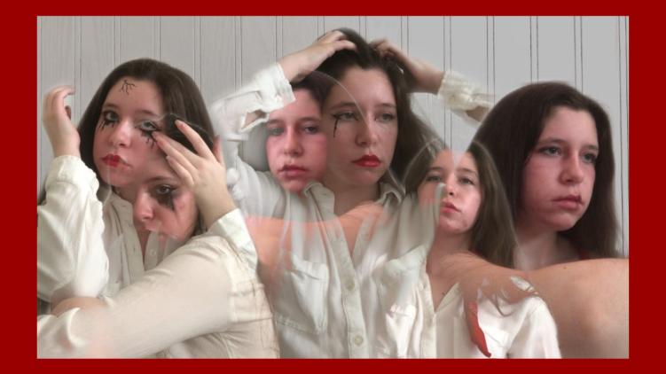 Student photo of a teen girl with six images showing different emotions.