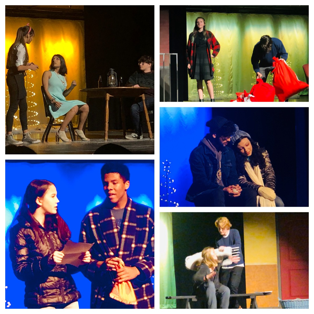 Five photos show student performing in Almost Maine