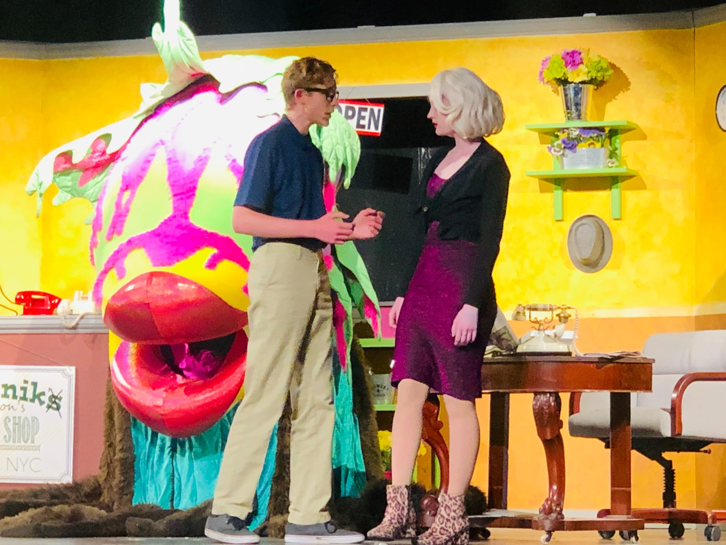 Seymore and Audrey talk before the big Audrey II, man eating plant.