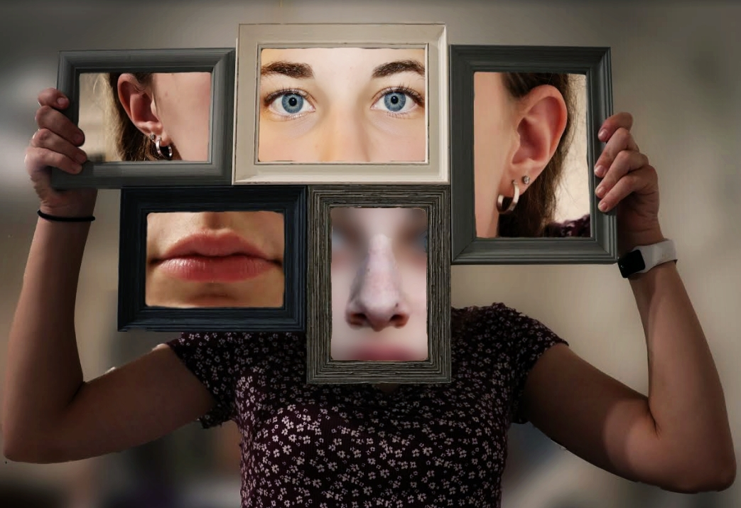 Student work of a girl's face divided in five wooden picture frames.