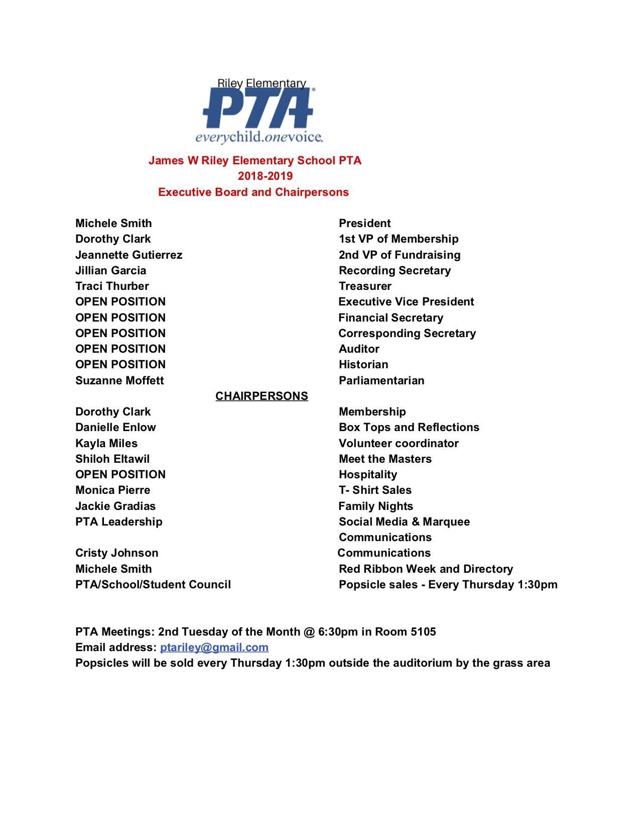 PTA Chairpersons Updated