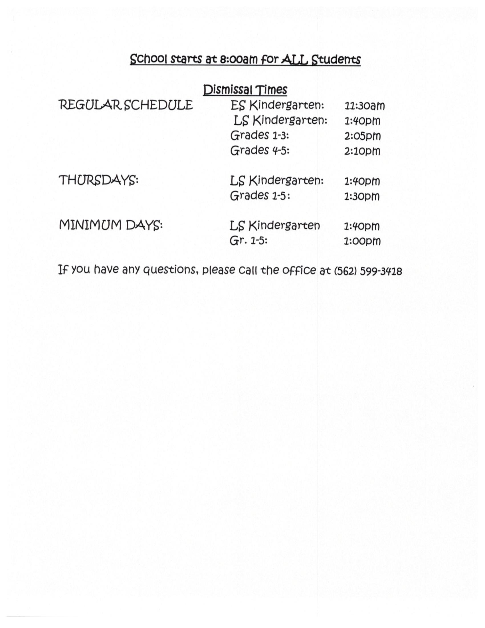 bell schedule ofr all students