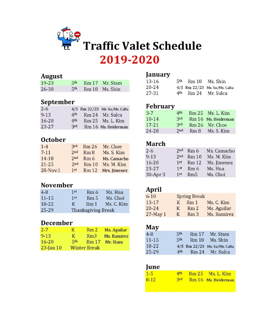 Traffic Duty Schedule 2017-18