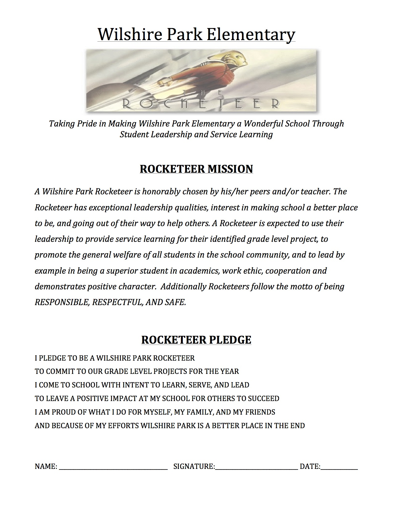 Rocketeer Mission and Pledge