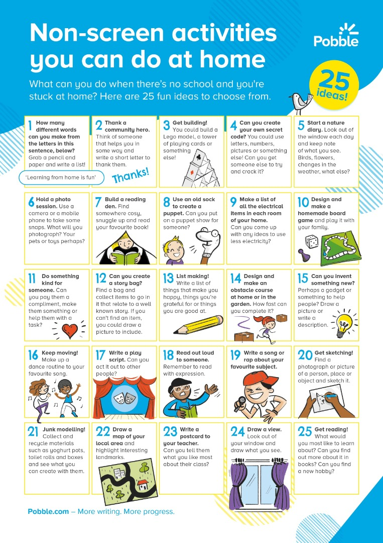 Chart of 25 Non-Screen Time Activities