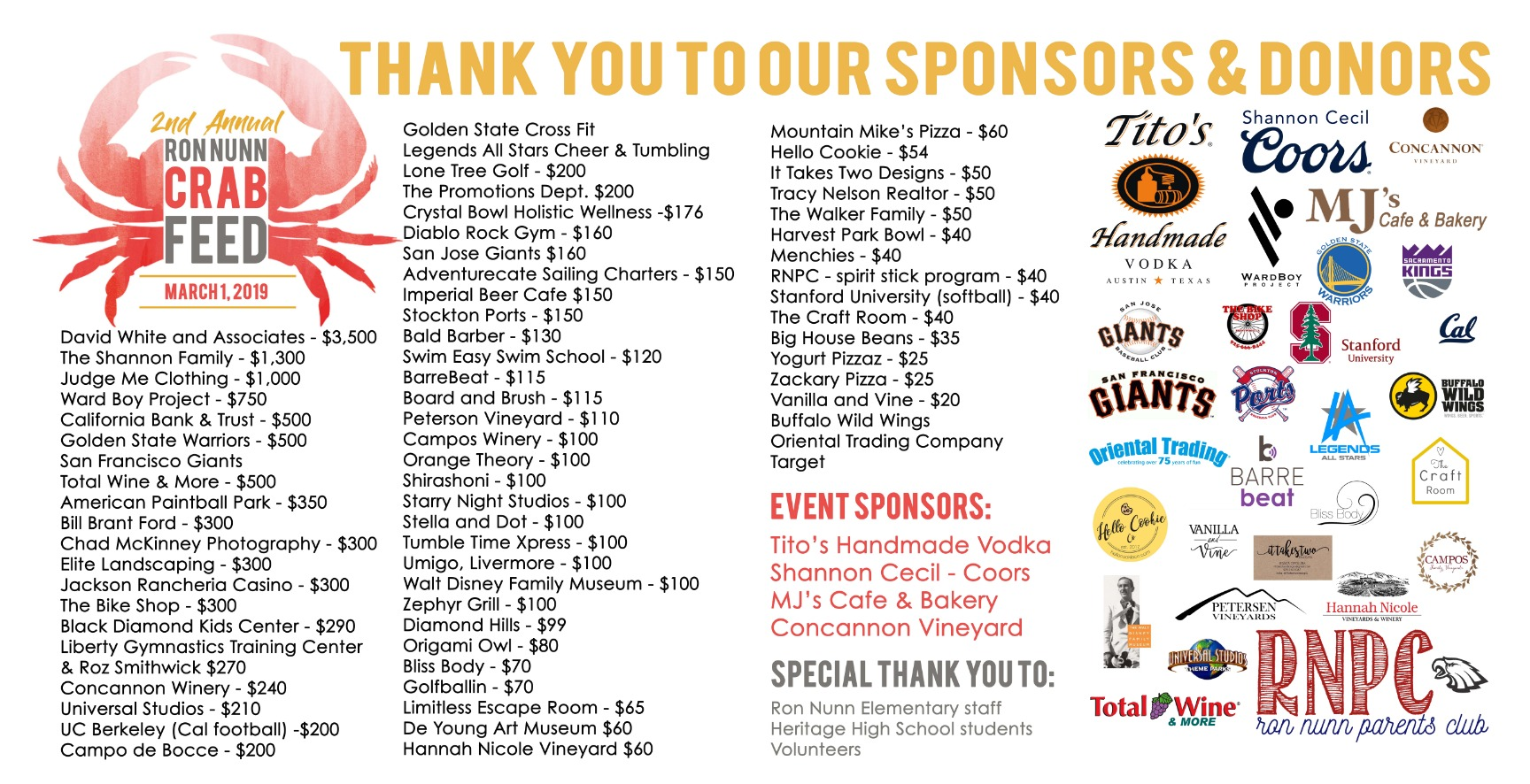 Crab Feed Sponsors