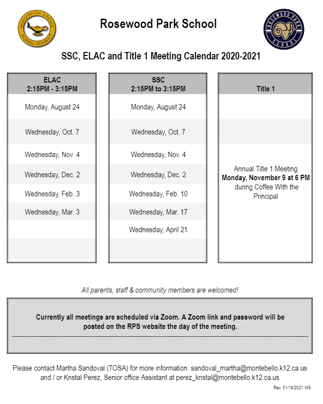 elac ssc meeting dates
