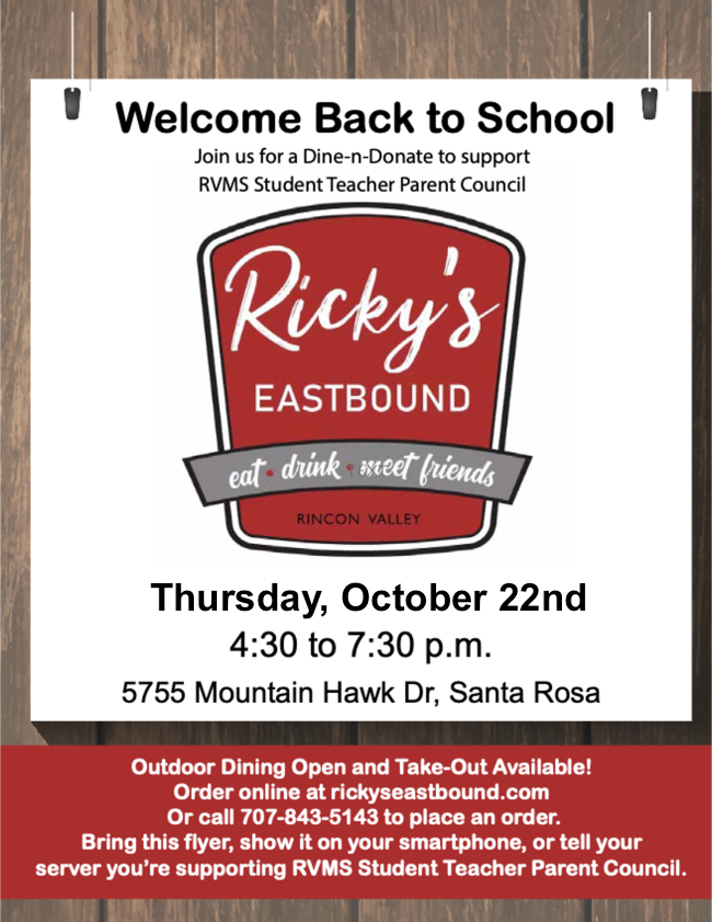 Dine and Donate at Ricky's changed to 10/22