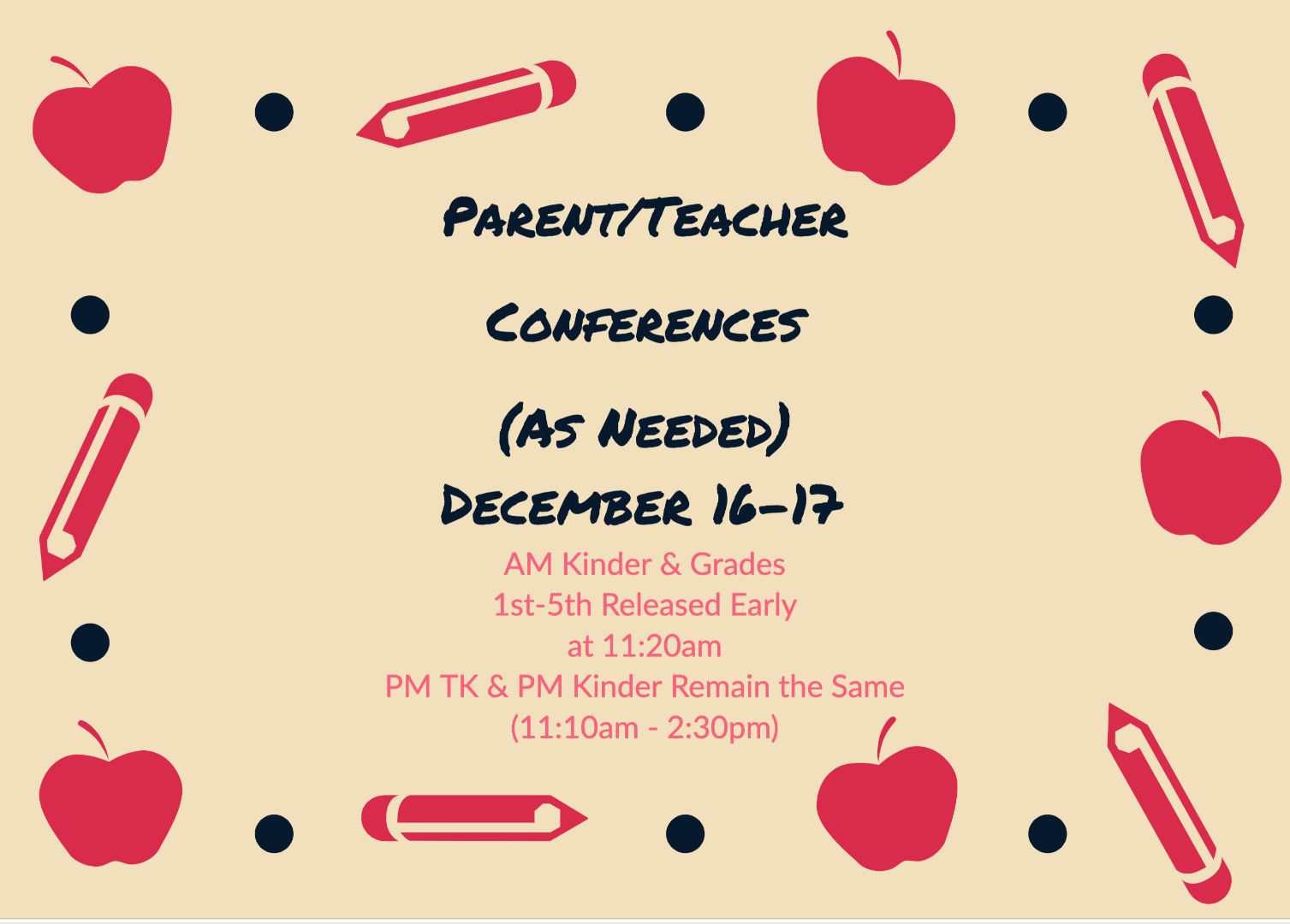 Parent Teacher As Needed Conferences