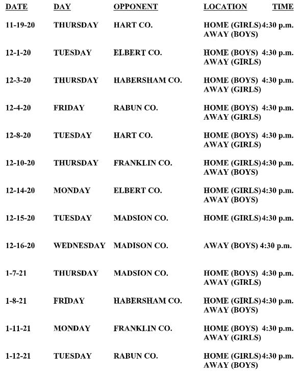 2020 SCMS Basketball Schedule