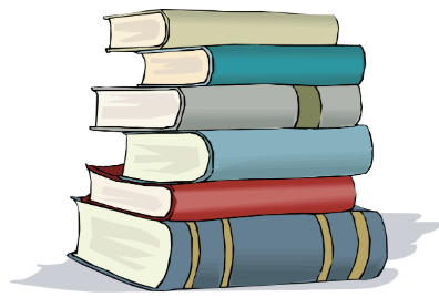 Stack of books linked to library online catalog