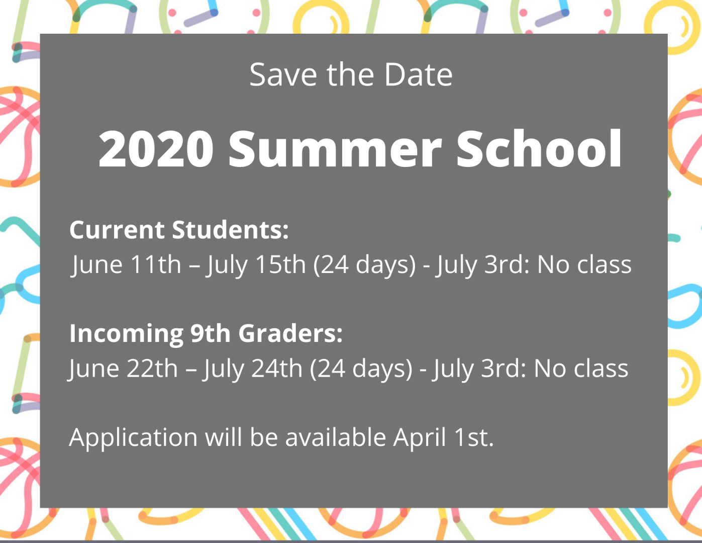 Save the Date Summer School