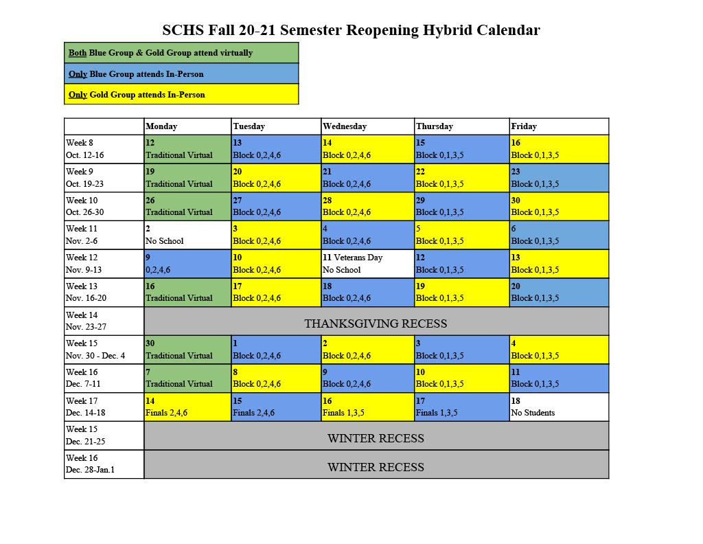 20-21 Fall Reopening Hybrid Schedule