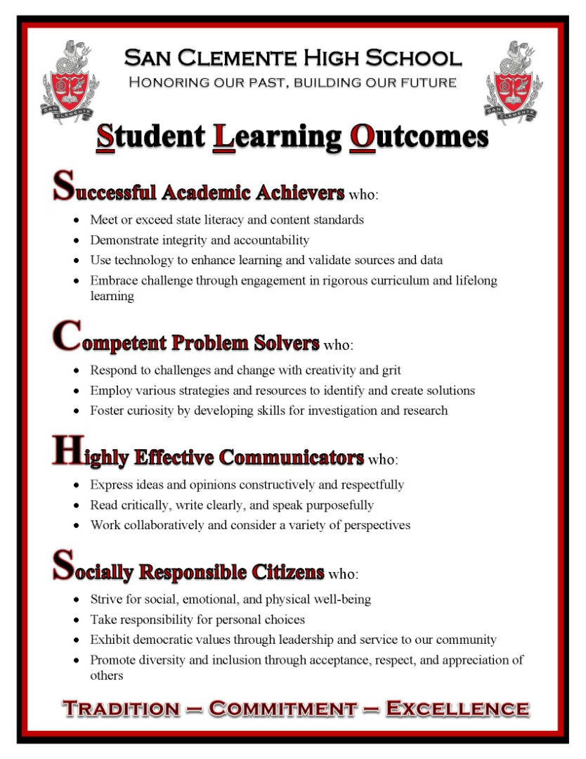 Student Learning Outcomes Flyer
