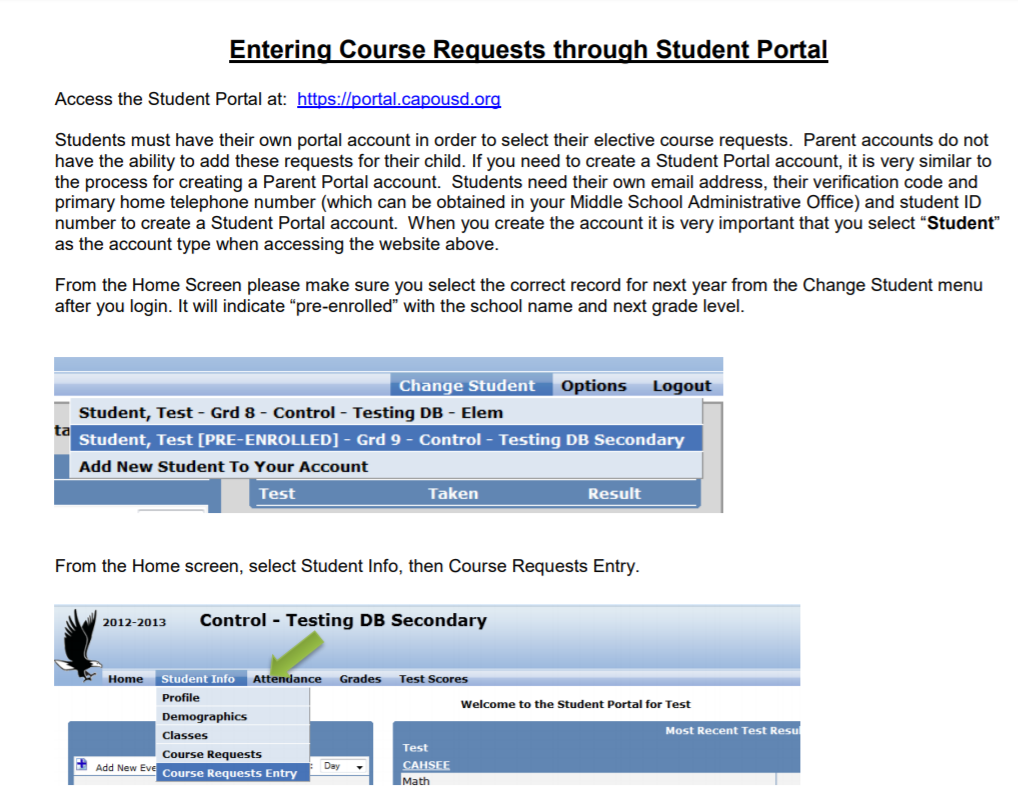 Entering Course Requests through Student Portal
