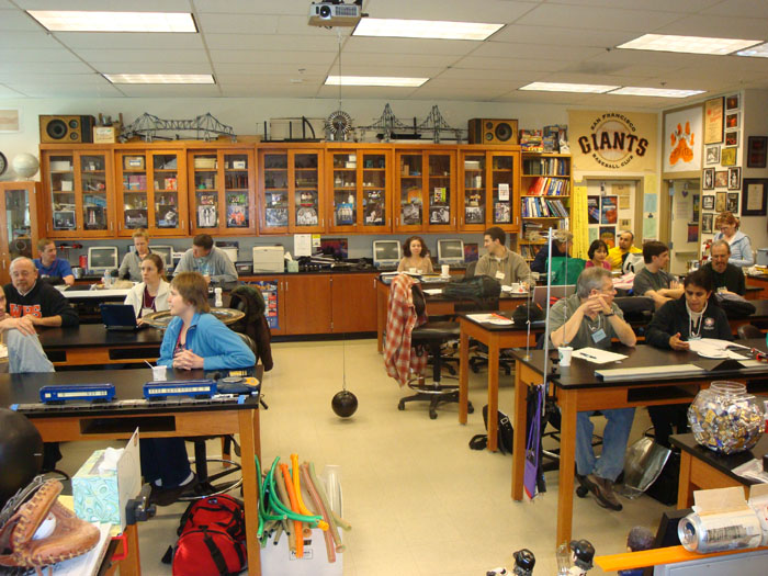 Mrs. Clarke and other Physics teachers hanging out at San Mateo High School