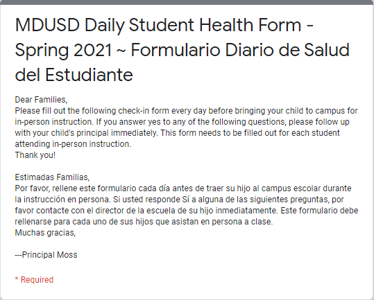 Daily Student Health Form