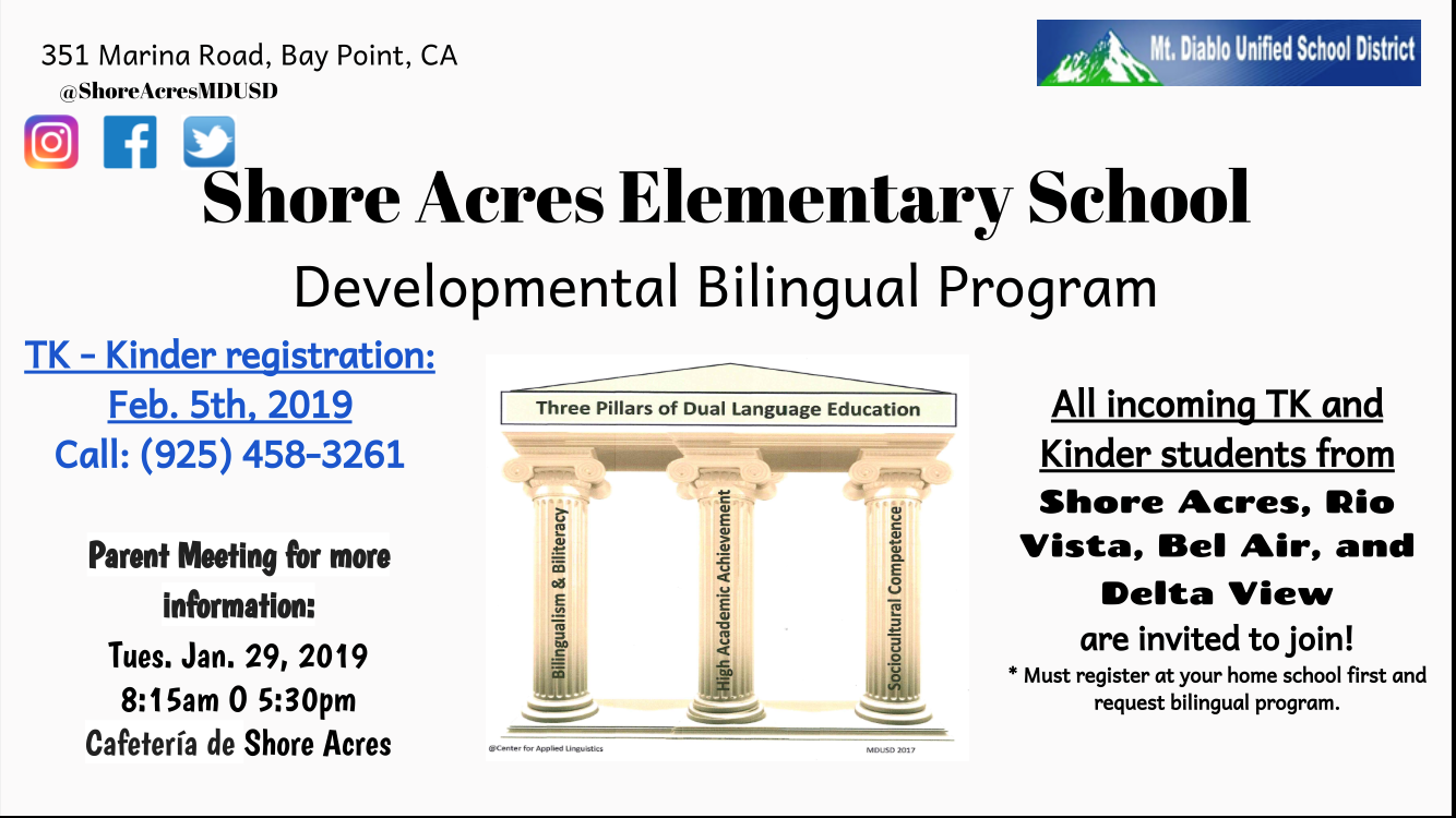 Informational Graphic for the Shore Acres Elementary School Developmental  Bilingual Program