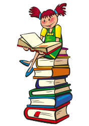 Clip art of a young girls sitting on a stack of books