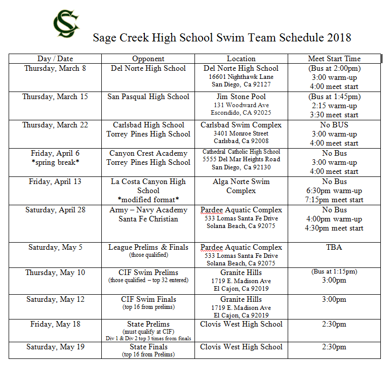 Updated Meet Schedule 4/2018
