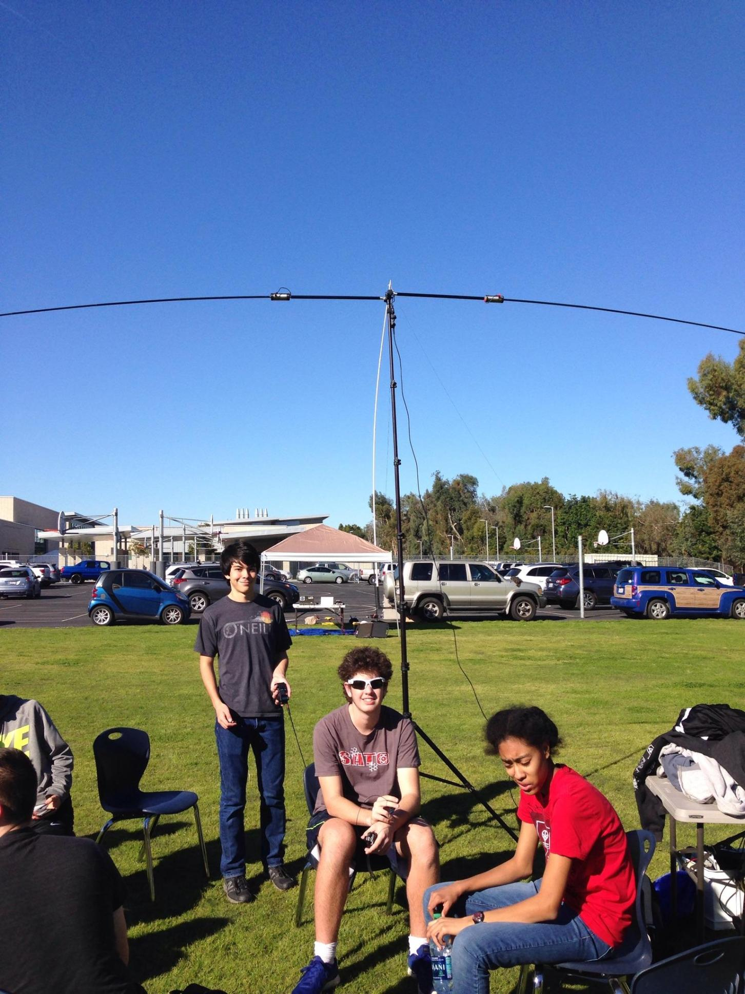 students using ham radio gear