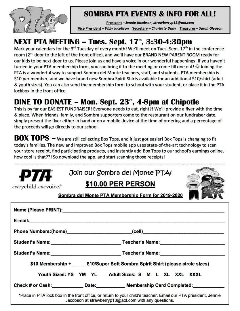 PTA Newsletter with details about upcoming events