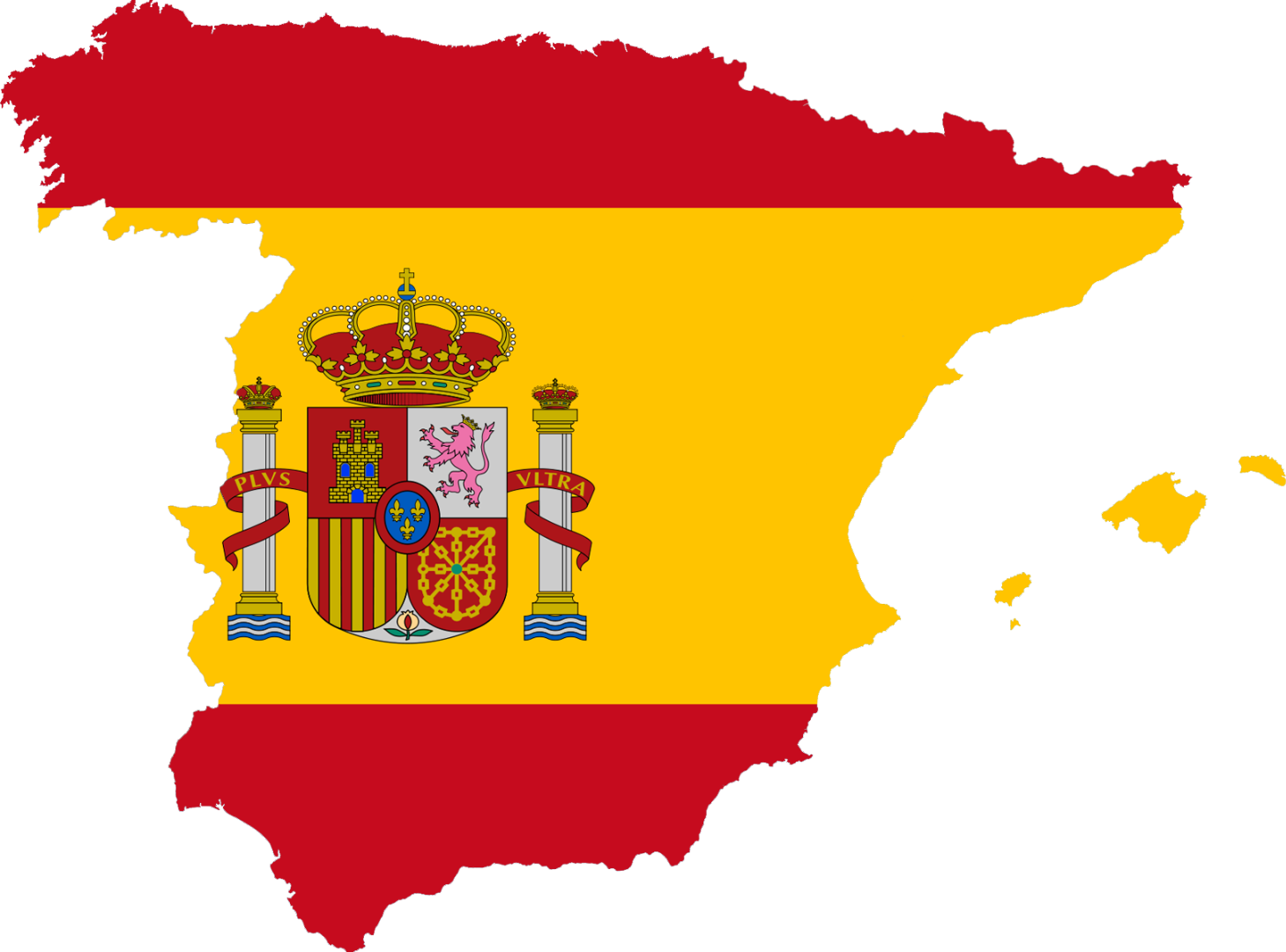 Spain's flag in the shape of the country