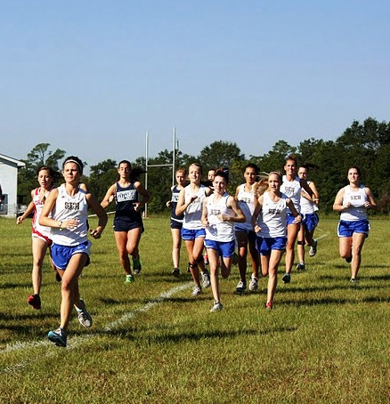 Cross Country girls' team running at WJMS