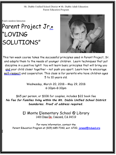 This is a 10 week parent class offered for FREE, to any families living within  the MDUSD boundaries. This workshop offers information to help build healthy  relationships within the family learn parenting techniques.