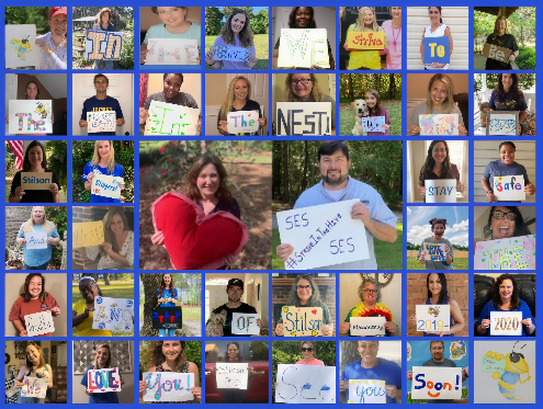 Photo Grid of Teachers holding signs about missing students.