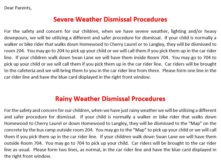 Inclement or Rainy Day Dismissal Procedures