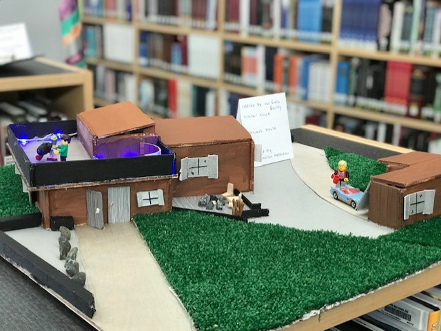 Model home with lights and Lego figures