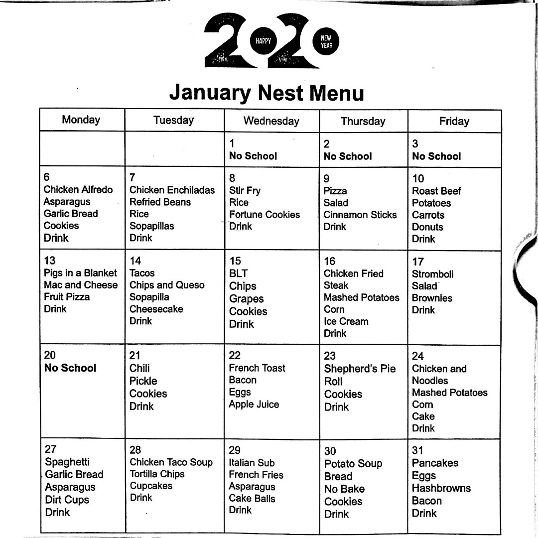 NEST Menu for January 2020