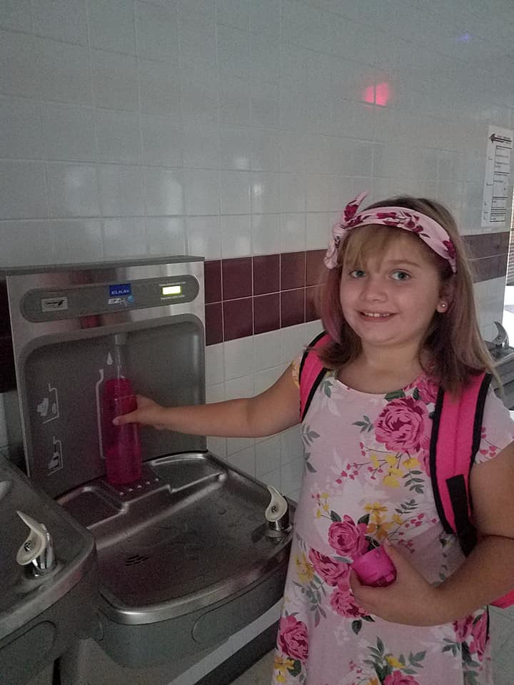 Brooklyn with water bottle filler