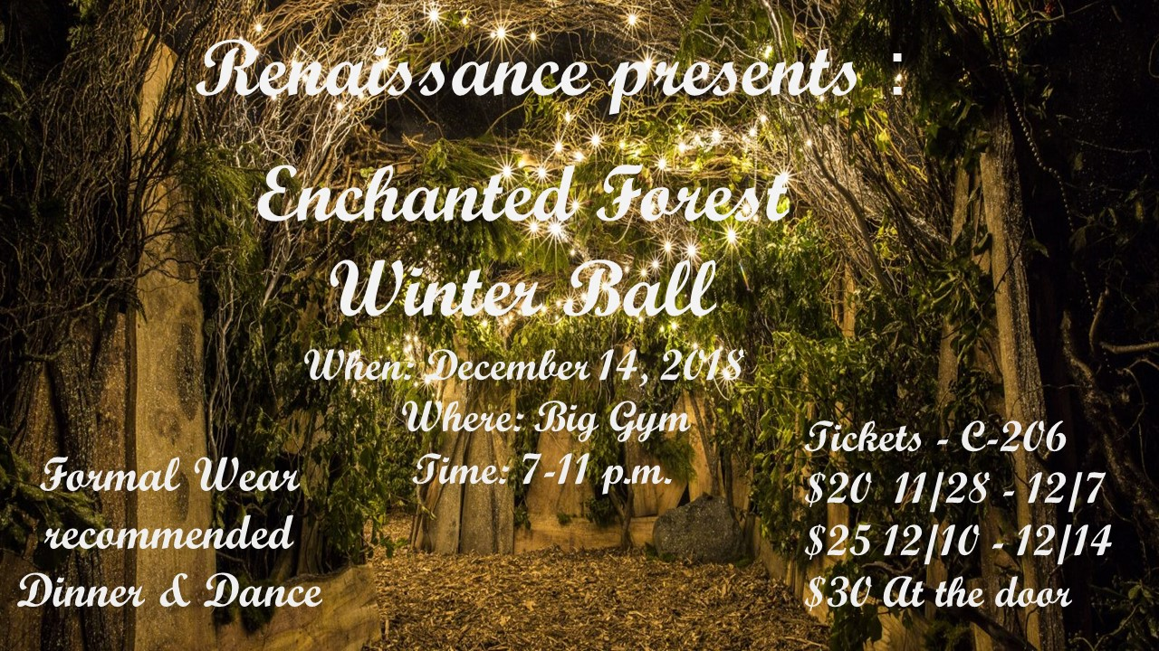 Enchanted Forest Winter Ball Dec 14, 2018 7-11pm Tickets C206 $20