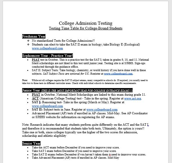 SAT and ACT Testing Timetable