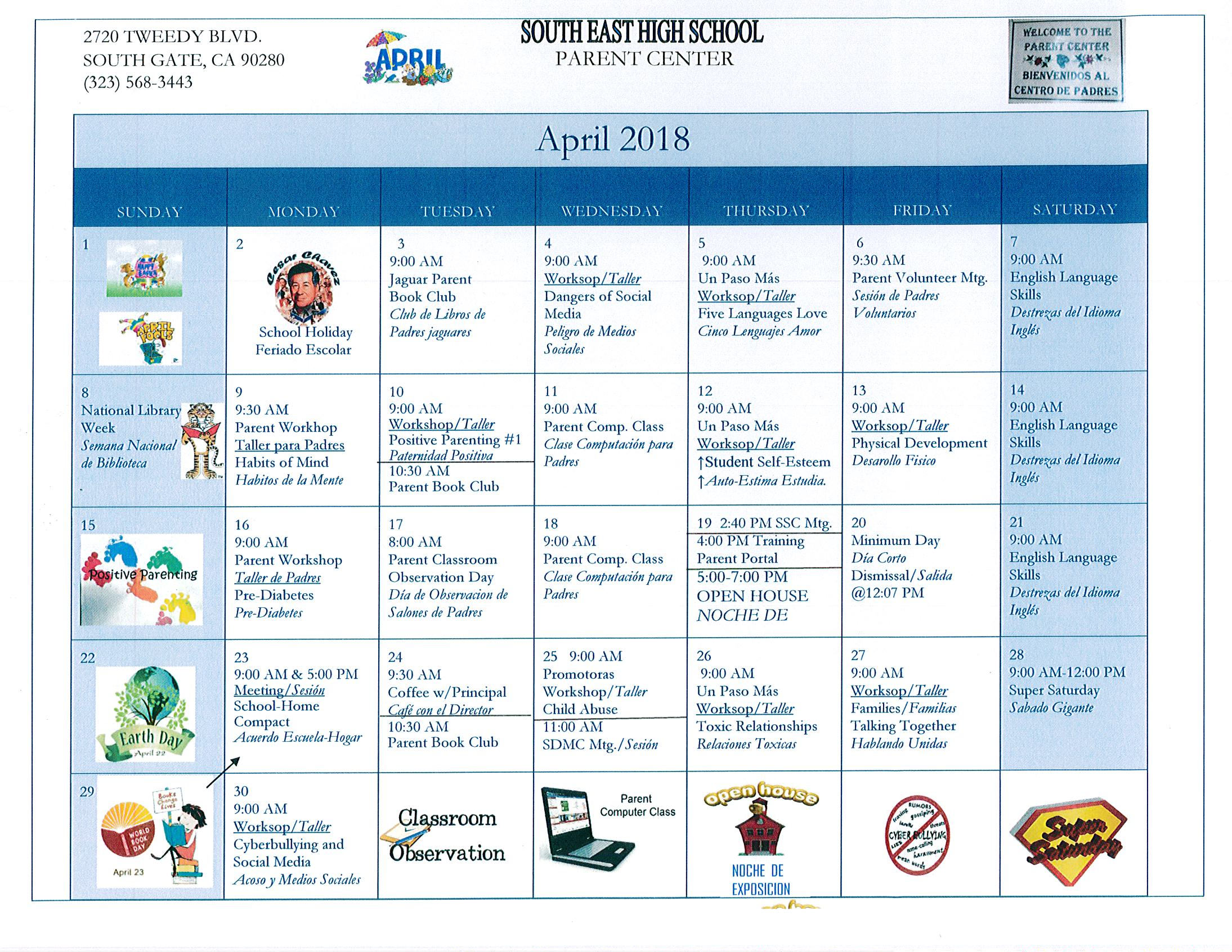 Parent Center Calendar/Calendario del Centro de Padres