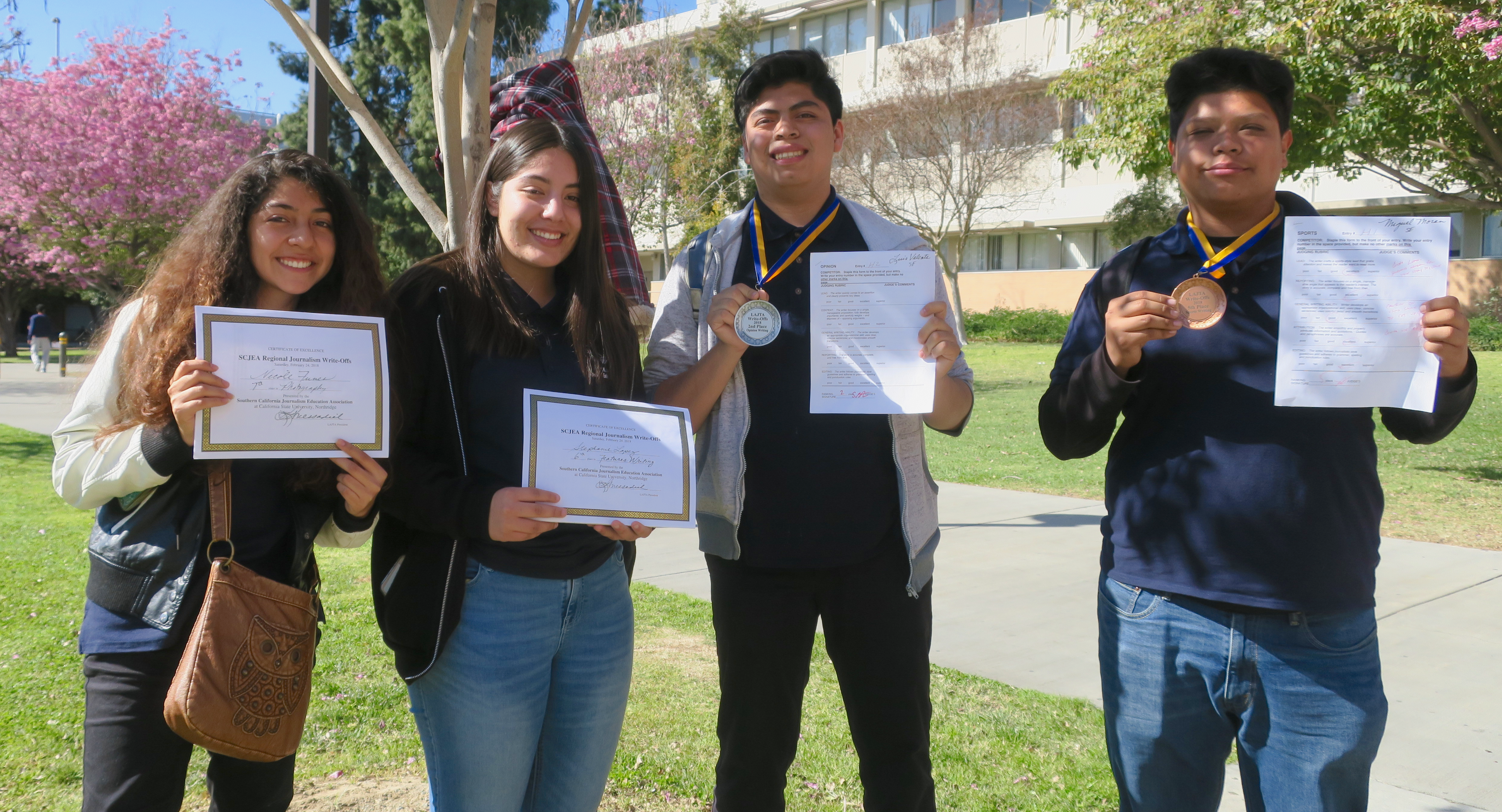 Congrats Luis, Miguel, Nicole and Stephanie for placing in the Los Angeles  Journalism Teacher's Association Competition!!!