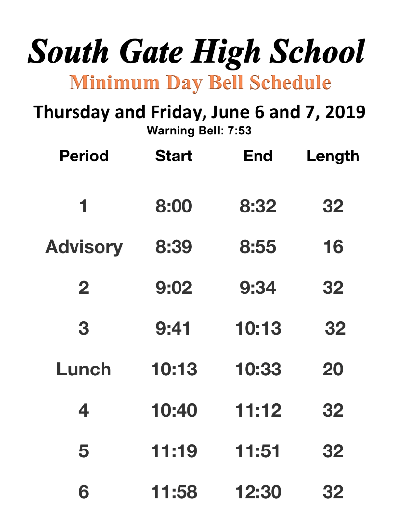 June 6th & 7th, 2019 Bell Schedule