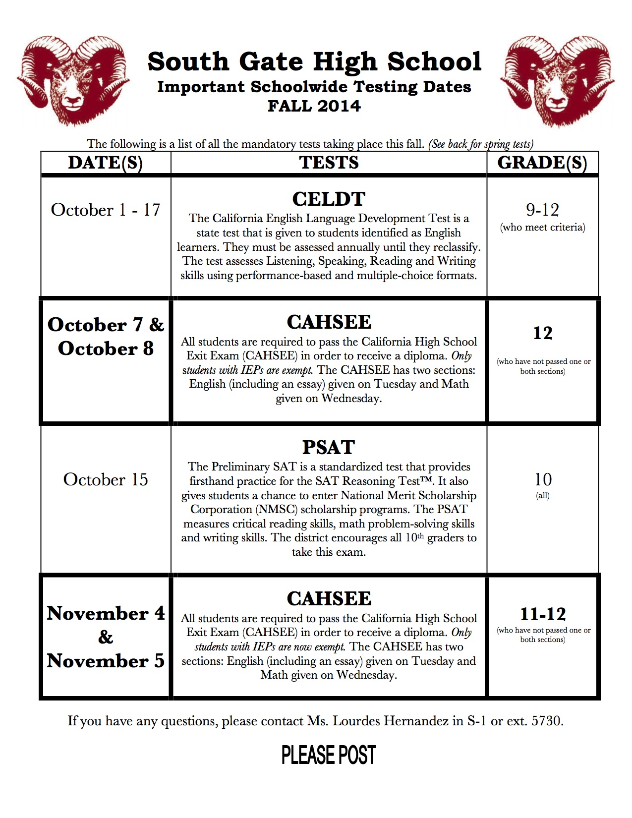 Fall14 Testing Calendar for all