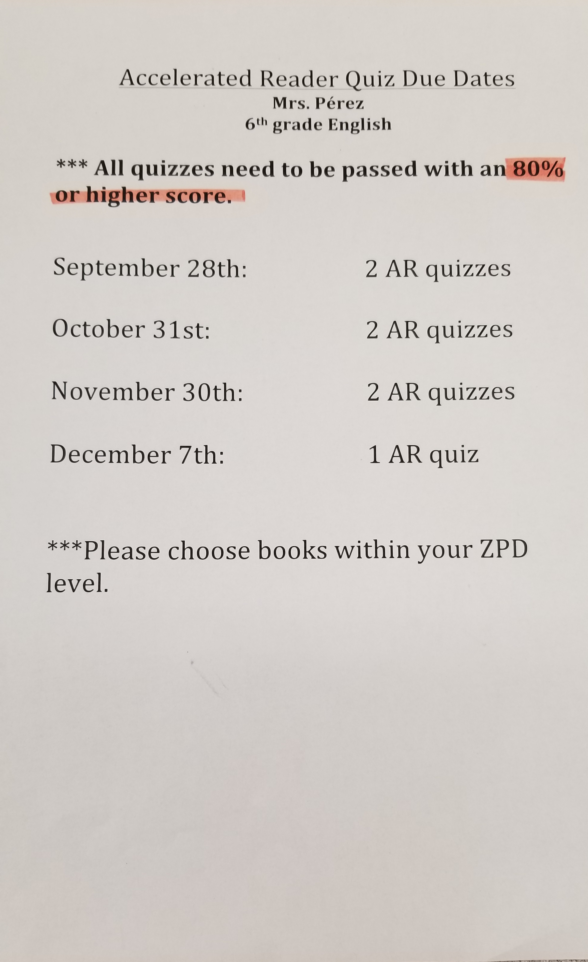 Accelerated Reader Due Dates
