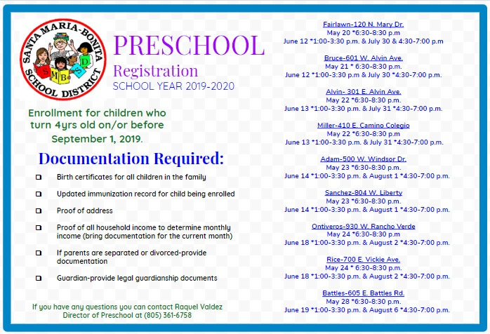 PreSchool Registion